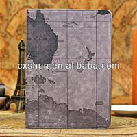 Lastest Gps world map leather cases tablet case for apple ipad air