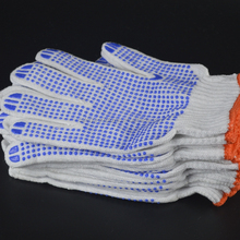 high quality grip black dot working cotton glove with pvc dots