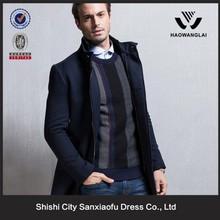 Men Gentle Business Long Dark Blue Wool Puffa Jacket Manufacturer, Quilted Jacket Men
