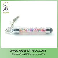 Mini twist metal ball pen with key chain,crystal key chain