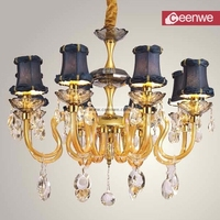 Pretty gold metal clear crystal decoration glass chandelier