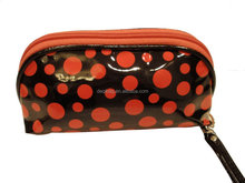 Women dots Makeup paint coat PU leather 2 layers Cosmetic bag/case (watermelon pink dots)