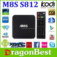 Amlogic S812 Kodi 15.2 M8S 2.0Ghz H.265 4K Bt 4.0 Ap6330 Wifi Android 4.4 Quad Core Tv Box M8S Better Than S812 Box
