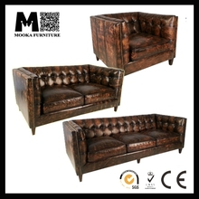 MKLA132 American country style living room antique leather sofa
