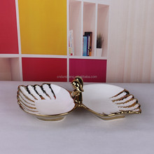 two in one swan candy plate/bowl wedding decor plated with golden candy plate wholesale