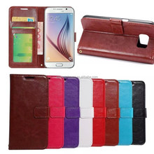 2015 NEW Fashion Deluxe Leather case Stand Card Wallet Cover for Galaxy S6 With credit card