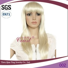 Europen light blonde lady gaga straight synthetic hair bow wig