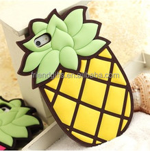 Lovely ananas silicone decorate 3d cell phone case cell phone display case