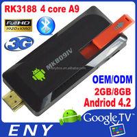 NEW MINI PC RK3188 Quad-core Andriod 4.2 Android tv dongle 2GB/8GB 3G Bluetooth Wifi MK809IV 3g smart tv usb dongle