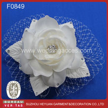2015 White Hair Fascinator of Rose Flower with Pearl and Rhinestone Birdcage Veil Wedding Bridal Veil