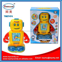 New products 2015 shantou plastic factory education clock toy electric toy robot toy