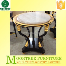 Moontree MST-1149 Top Quality Gloden Leaf Round Antique Marble Top Luxury Side Table