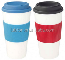 Eco-friendly Take Away Double Wall Coffee Mug With Silicone Lid