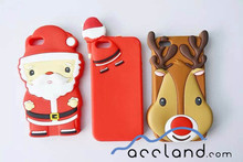 3D Rubber Gel Xmas Snow Red Santa Claus Case/ Father Christmas Silicone Case for iPhone 6s