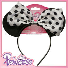 Carton Mouse Ears With Big Polka Dots Wholesale Black Hair Band Girls Accessories Headband