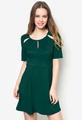 Women Green Laser Cutout Short Sleeve African Dresses