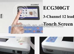 The most popular portable white digital 3 channel 12 leads ECG monitor +printer