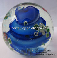 Blue hue cyclon Glass ball /Solid Glass shpere/Marbles /Hand made Art glass