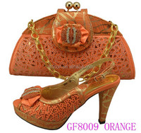 GF8009 gold african shoes and bag set to match for nigerian wedding