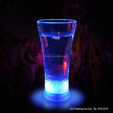 Dancing party use 400ml volume blue light led flashing big cola glass