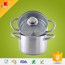 innovative kitchenware induction ss304 l steamer set with glass lid