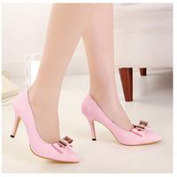 Женские сексуальные заостренный носок бантом насосы пятки высокие каблуки партия обуви вечером нас размер 5 6 6,5 7,5 8 прямые