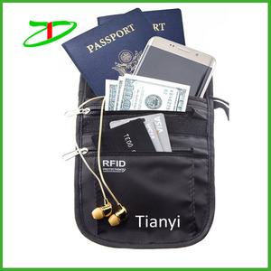 Titular del pasaporte de viajes segura protección rfid cartera cuello, cuello monedero del dinero