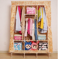 Solid Wood Cabinets Non-woven clothes wardrobe with Fabric cover/folding clothes wardrobe
