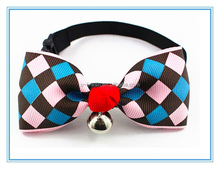 Ribbon Fabric Pet Bow with Beautiful Bell for Dogs