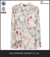 2015 New Chiffon Fashion Flowers Printed Women Blouses Long Sleeve Shirts