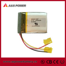 UL approved rechargeable 603040 li ion polymer battery 3.7V 1500mAh