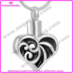 IJD9161 blalck epoxy resin stainless steel memorial heart urn pet cremation jewelry heart pendant necklace for ashes