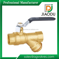 Widely Use Forged DN20 NPT BSP Female high pressure nature brass color Brass Ball valve Y type Strainer with steel handle