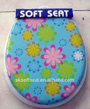 """Flower Printed Soft Toilet Seat with Cover 17"""" 18"""" 19"""""""