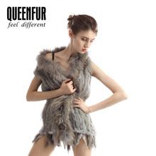 2015 New Women Genuine Rabbit Fur Vest Lady Warm Raccoon Fur Collar Waistcoats Fashion Natural Fur Gilet