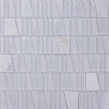 Super White Glass mix Stone mosaic art NSG004