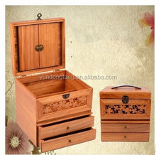 New design decorative mirror carved makeup box solid wood jewellry case for women