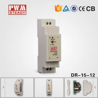 AC to DC din rail Power Supply Enclosed LED Single Output 12 Volt 1.25 Amp 15 W