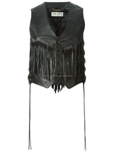 2015 GOTHIC STYLE BLACK LEATHER FRINGED VEST FOR WOMENS