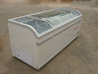 Fresh seafood mobile refrigeration equipment with sliding doors for supermarket/shop