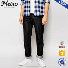 2015 OEM Brand Wholesale Latest Design Relaxed Tapered Fit Blue Cause Raw Jeans Pants