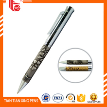 The foreskin metal ball pen,stitch leather metal ball pen