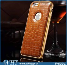 2015 New Fashion Hot Selling Slim Cover for iPhone 6 Case Leather with Crocodile Pattern