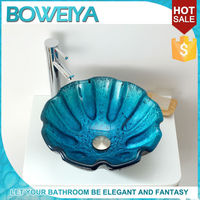 Tempered Glas Blue Colored Small Size Shell Shaped Bathroom Sink