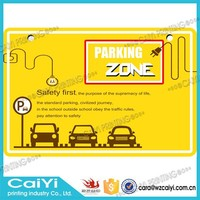 New printable yellow reflective traffic parking zone metal sign