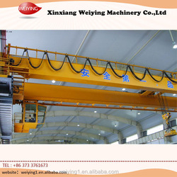 Overhead warehouse crane handling equipment with carrier beam