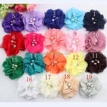 Solid color shabby chiffon flowers making cheap artificial handmade flowers for headbands