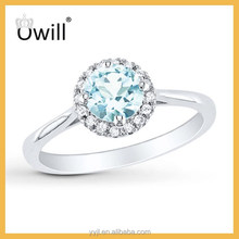 Hot Selling Silver Jewelry Fashion Round Cut Diamond Blue Topza Ring