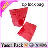 Yason ziplock mini bag with design shinning red yellow ziplock standup bottom gusset zipper lock