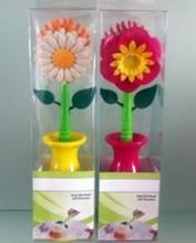colorful flower pattern kitchen washing plastic printed flower dish brush